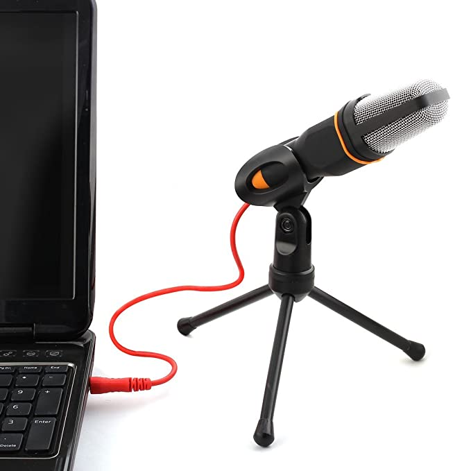 Amazon.com: eDealMax ordenador portátil PC Base Ajustable DE 3,5 mm de condensador de sonido Podcast Studio Micrófono Negro: Electronics