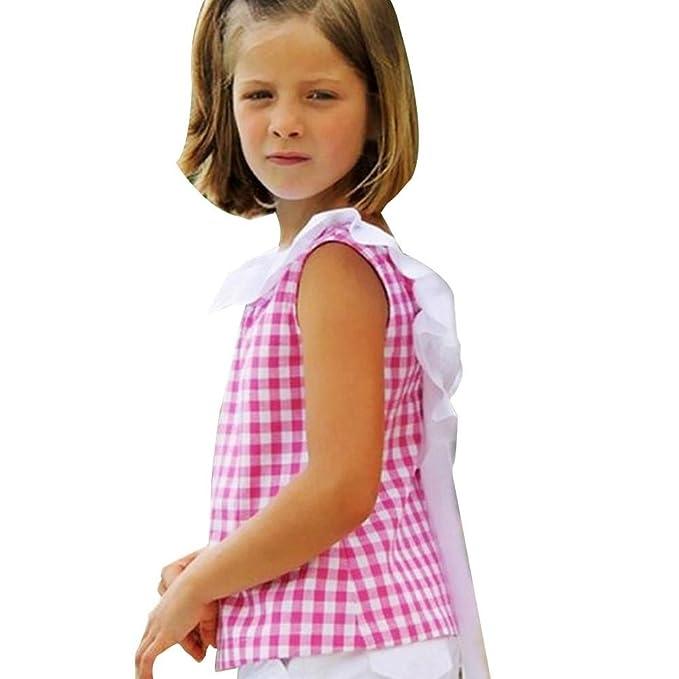 Vestidos niñas, Switchali Niños Bebé Niña Verano moda Tartán blusas bowknot camisa + pantalones cortos