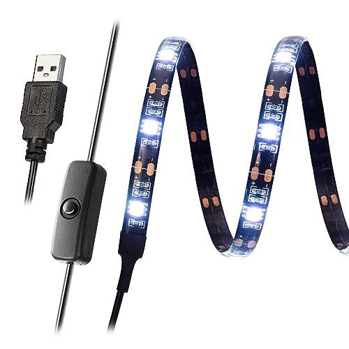 Kohree Ruban LED Flexible Bandeaux LED Monochrome Lumière Ambiance Rétroéclairage Autocollante Pour Téléviseur Ecran Ordinateur 27 LEDS 90cm Blanc