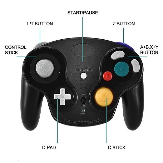 VOYEE Wireless Gamecube Controller Gamepad with Receiver Adapter for  Nintendo Wii U Gamecube (Black)