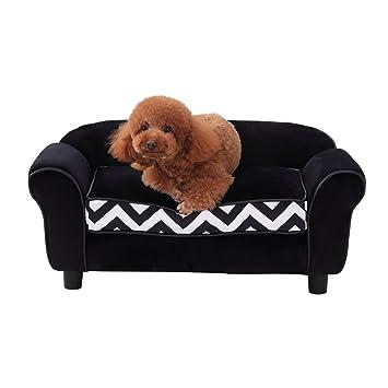 Pawhut sofá de mascota, perro, gato, madera esponja, sofá ...