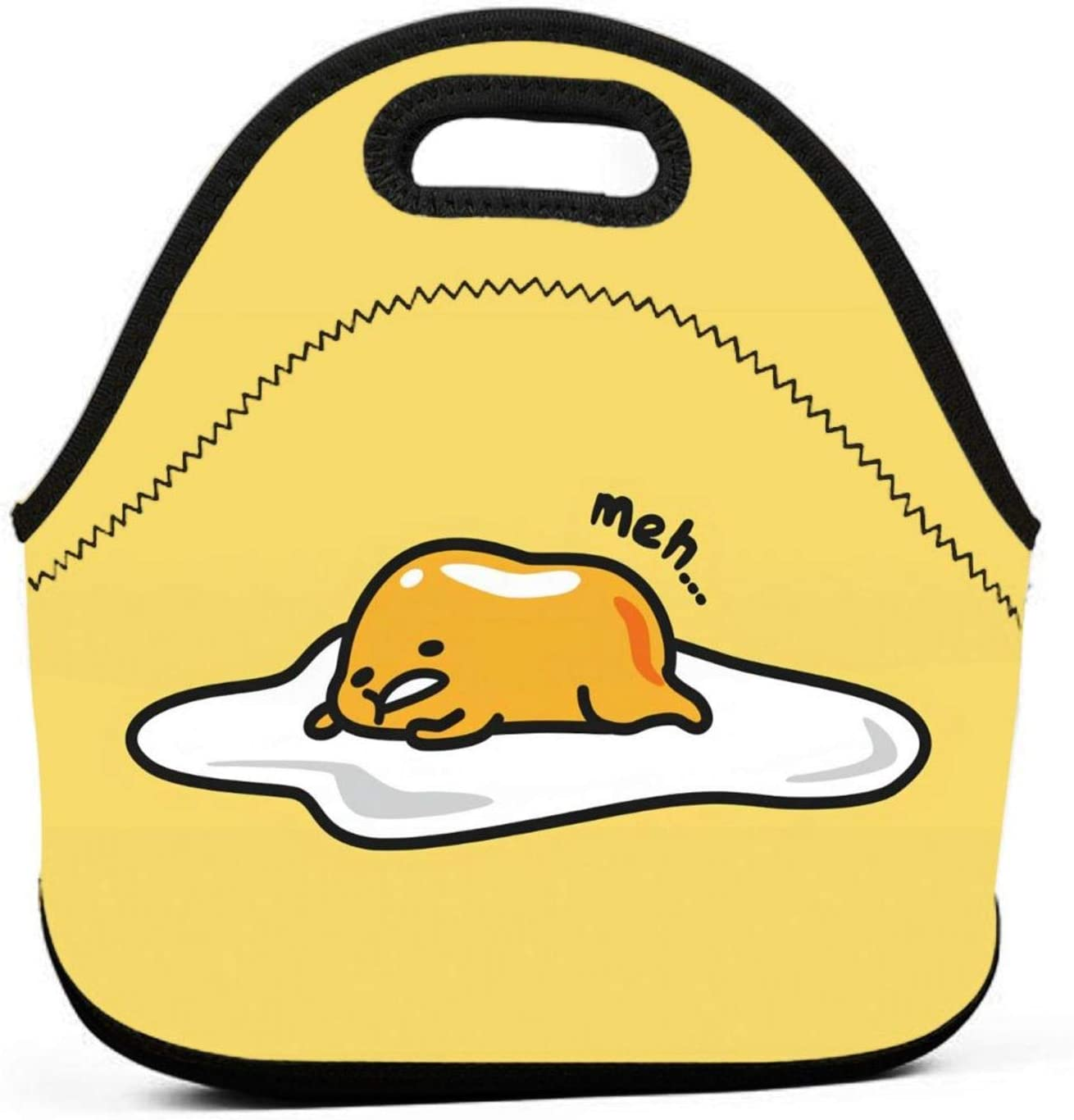 Gudetama Cute Egg Neoprene Lunch Bag Tote Bag Lunch Organizer Thermal Lunch Holder Reusable Lunch Box Insulated Lunch Cooler Bag for Women Men Kids Picnic Work School
