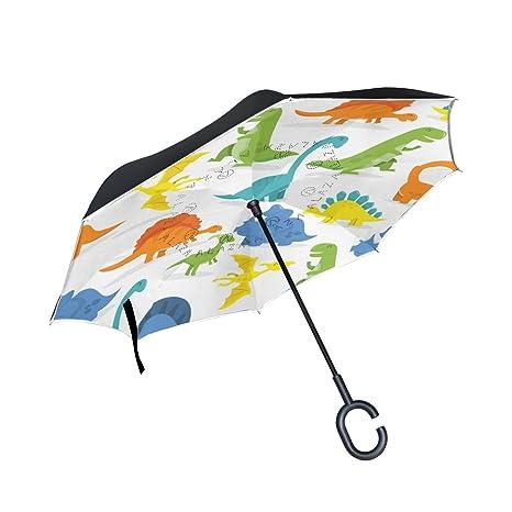 COOSUN Feliz dinosaurio de dibujos animados de fondo de la capa doble del paraguas invertido inversa