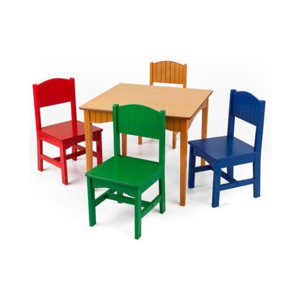 KidKraft Nantucket Kids 5 Piece Table & Chair Set, Kids Activity Table Set, Primary