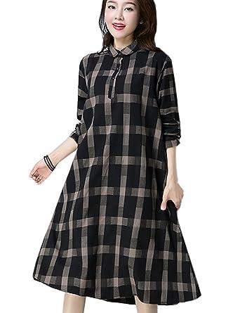 9ab2aa5500f Zhusheng Women s Oversize Elegant Vintage Polo Neck Plaid Long Sleeve  Casual Loose Shirt Dress (Small
