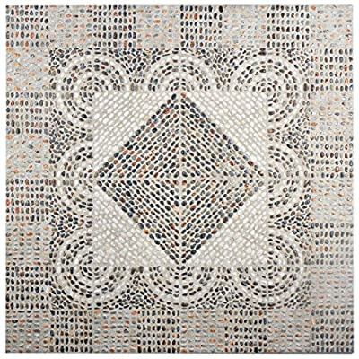 "SomerTile FAZ20ROM Remu Ceramic Floor and Wall Tile, 20.25"" x 20.25"", Beige/Blue/Orange/Brown/Grey/White"