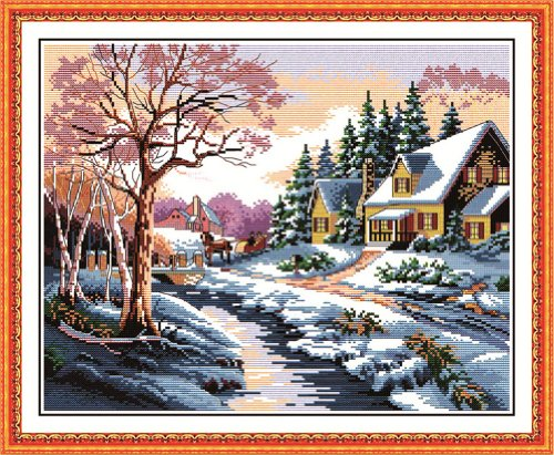 Benway Counted Cross Stitch In Winter House And Trees Coveri