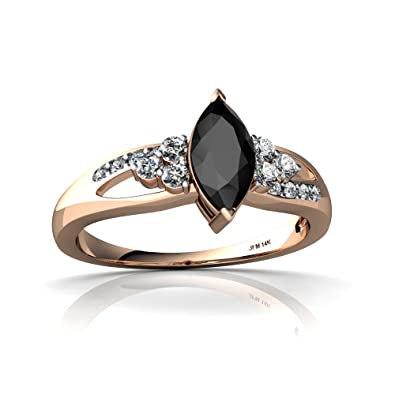 14kt Rose Gold Black Onyx And Diamond 8x4mm Marquise Antique Style Ring    Size 4