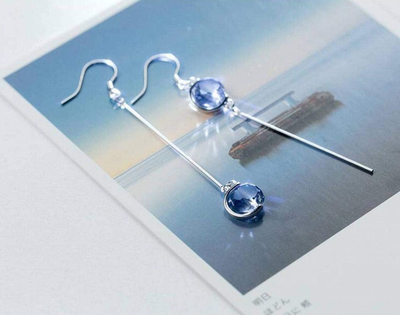 BinLZ S925 Pendientes de Plata Dulce de Mujer Sintético Azucarada Roca Cristal Azul Asimétrico Oreja Larga Joyería Femenina