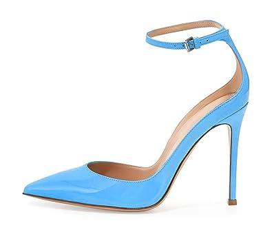 5ea23962bab905 EDEFS Damen Klassisch high-heel Knöchelriemchen Pointed Toe Schnalle Pumps  Blau Größe EU35