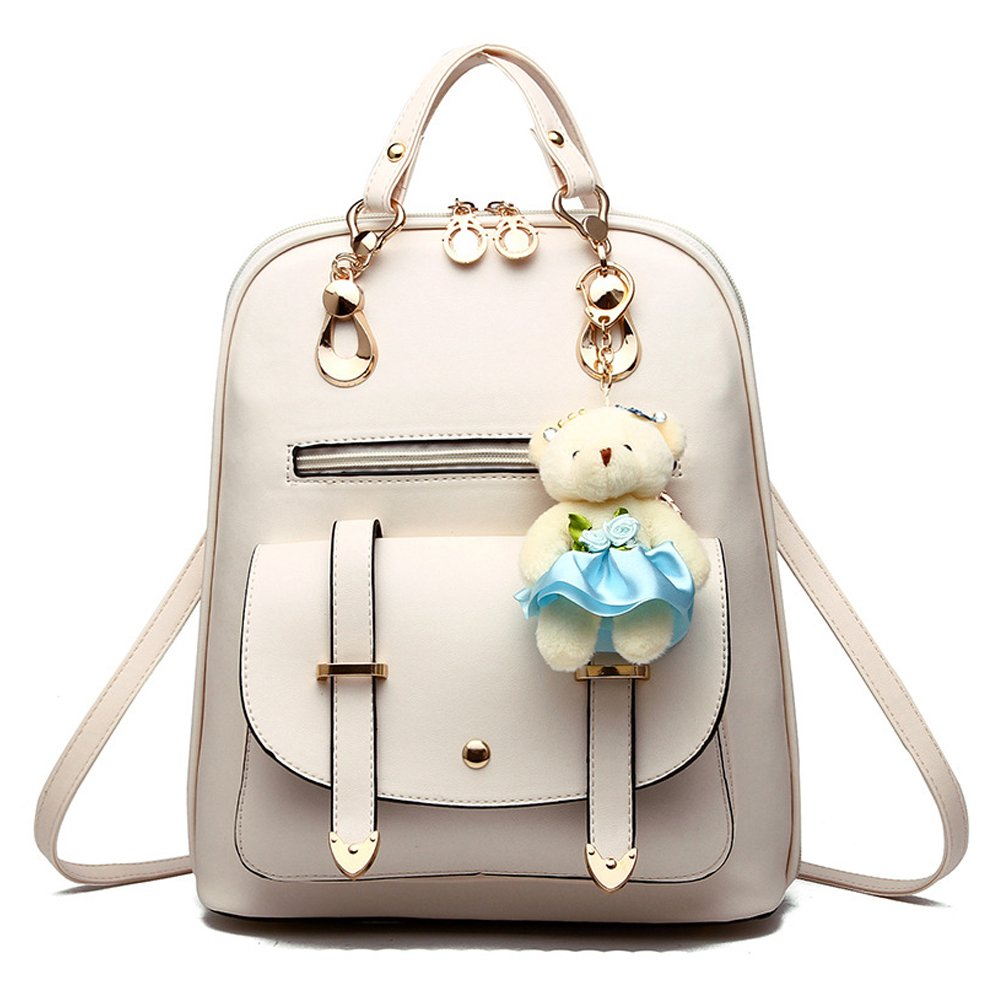 BAG WIZARD Women Fashion Mini Backpack Purse Cute Quilted Leather WhiteBack Pack Purses for Girls