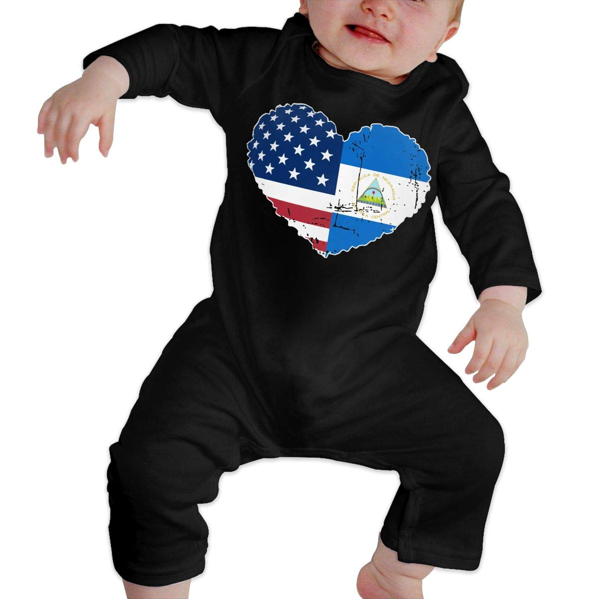 A1BY-5US Newborn Baby Boys Girls Cotton Long Sleeve Nicaragua USA Flag Heart Jumpsuit Romper Funny Printed Romper Clothes