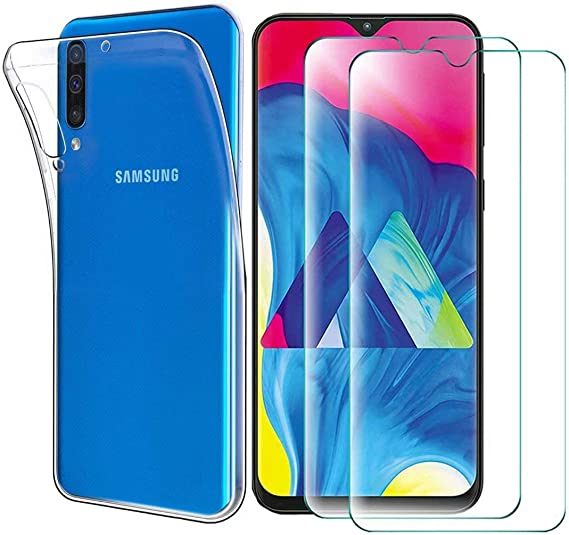 Red-01 Ultra-Thin Carbon Fiber Anti-Drop TPU Soft Shell +9H Tempered Glass ,for Samsung Galaxy A50 Smartphone 2 in 1 Abbeen Samsung Galaxy A50 Case and Screen Protector,