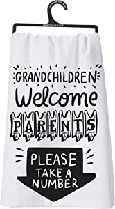 "Primitives by Kathy LOL Made You Smile Dish Towel, 28"" Square, Grandchildren Welcome"