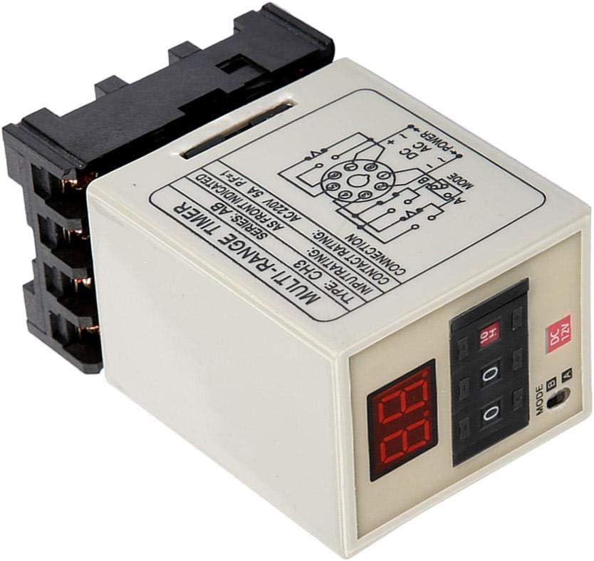 DEWIN Timer Relay Digital Delay Timer Relay AH3-DM Dual Mode Delay Timer Relay 0.01S-99H LED Display 12//24//110//220//380V Delay Timer Relay DC 12V