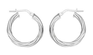 Adara 20 mm Round Twist Creole Silver Earrings zHRnrN