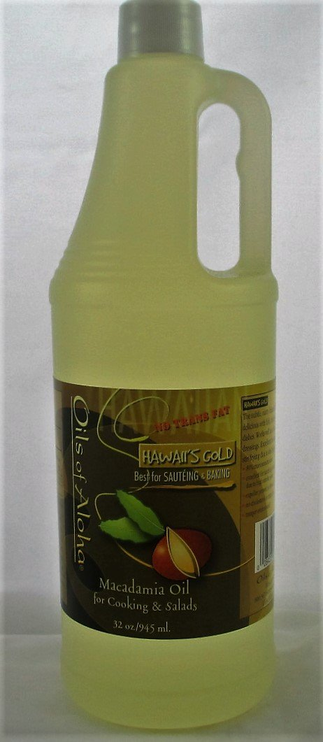 Hawaii's Gold Macadamia Oil Cooking and Salad Oil, 100% Pure (32 Oz, 945 ml.)