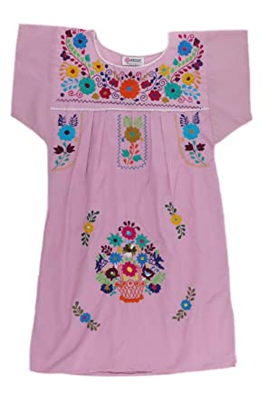 5e7ee66443d Mexican Clothing Co Womens Mexican Dress Peasant Tehuacan Poplin X-Small  Pink 8968