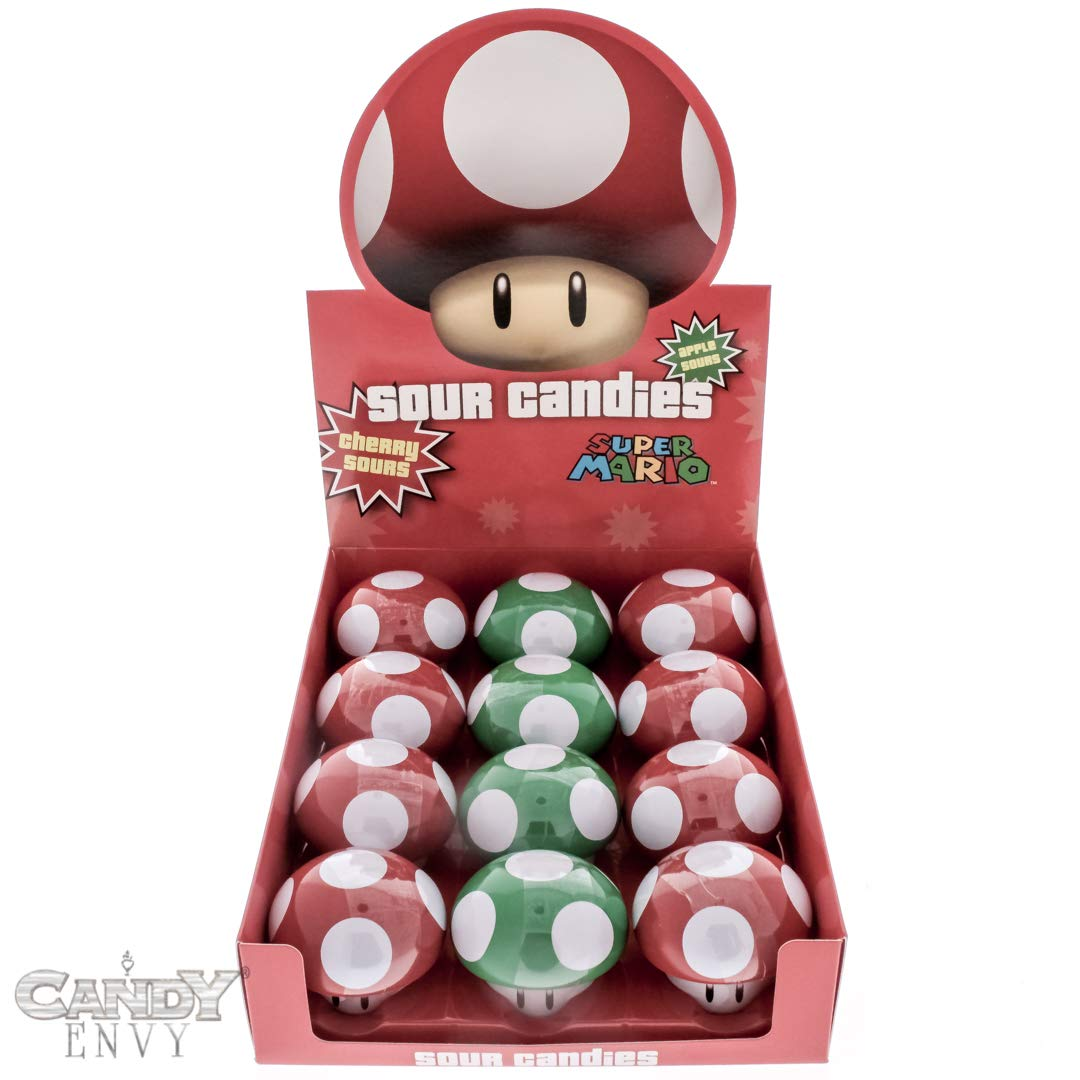 Super Mario Mushroom Sours - Nintendo Mushroom Shaped Tins - Cherry and Apple Flavored - Includes ''How To Build a Candy Buffet'' Guide (12 Pack Display)