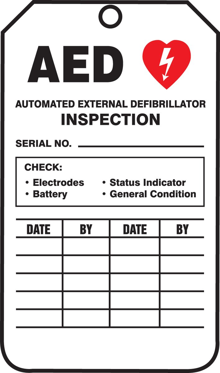 Accuform TRS345PTM RP-Plastic Inspection & Status Record Tag, Legend''AED AUTOMATED EXTERNAL'', 5.75'' Length x 3.25'' Width x 0.015'' Thickness, Red/Black on White (Pack of 5)