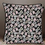 S4Sassy 1 Pair Black Cotton Poplin Poker Card Print Indian Sofa Cushion Cover Pillow Case-14 x 14 Inches