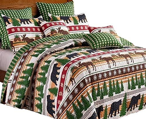 Virah Bella Cabin Lodge Style Winter Christmas Wilderness Black Bear and Moose 3pc Queen/Full Size Quilt and Pillow Sham Set -