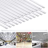 Yescom 4Ft T8 LED Tube 6500K Fluorescent Tube Retrofit Replacement, Milky Cover Dual-Ended, 18W T8 LED Bulbs, 25 Pack