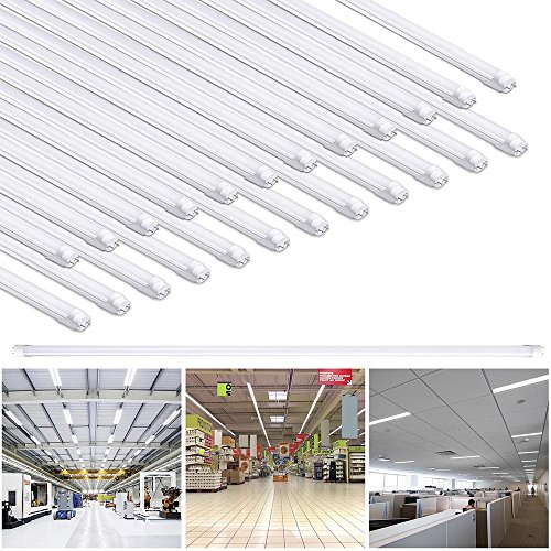 Yescom 4Ft T8 LED Tube 6500K Fluorescent Tube Retrofit Replacement, Milky Cover Dual-Ended, 18W T8 LED Bulbs, 25 Pack by Yescom