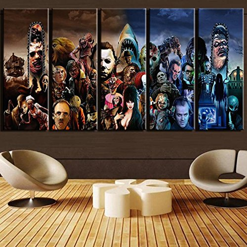 Modern Wall Art Printed Landscape Canvas Poster 5 Piece Horror Movie Characters Group Painting Frames Home Decor Pictures