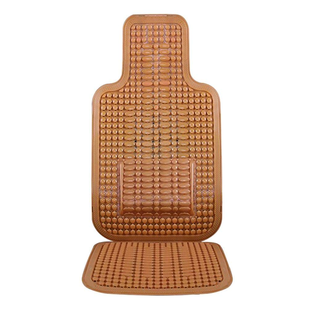 Taimot Wooden Beaded Car Driver Seat Cushion with PVC Royal Wood Bead Seat Cover Massage Cool Premium Comfort Cushion Massage Cool Premium Comfort Cushion with Waist Pillow for Car