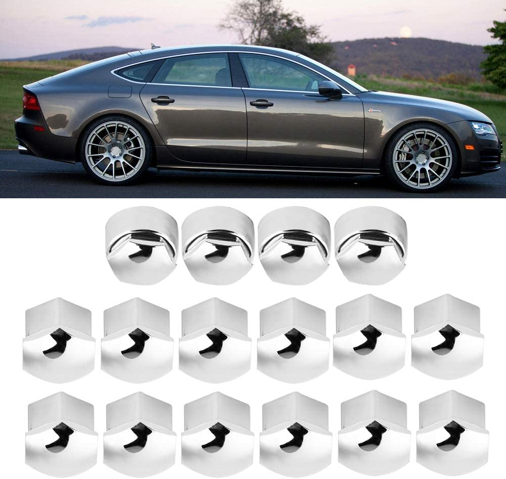 Qiilu 20pcs Lug Nut Covers Universal 17mm Wheel Lug Nut Center Cover Bolt Cover Caps with Extractor for Audi Wheel