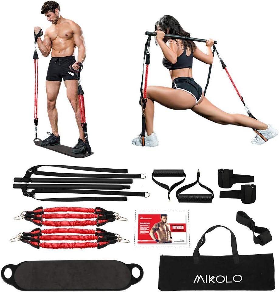 Skboy Portable Home Gym Workout Set 3.0- Collapsible Resistance Bar with Adjustable Straps+ 4 Levels Resistance Bands+Foot Board+Handles+Ankle Straps+Door Anchor+Workout Guide+Carring Bag