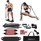 Skboy Portable Home Gym Workout Set 3.0- Collapsible Resistance Bar with Adjustable Straps+ 4 Levels Resistance Bands+Foot Bo
