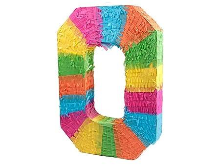 Alsino Piñata Multicolor | Forma de número 0 | para la Fiesta de Cumpleaños | Entretenimiento Niños, Piñata número 0