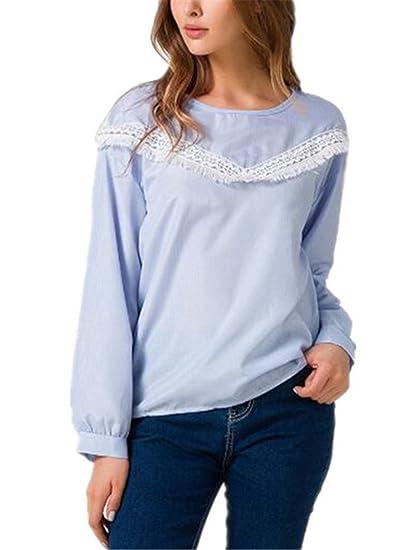 Aivosen Sexy Camisa Mujeres Hipster Blusas De Encaje Flores Lace Crochet Camisetas Manga Larga T Shirt Slim Tops: Amazon.es: Ropa y accesorios