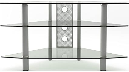 Amazon Com Gibson Living Ruby 44 Inch Corner Glass Tv Stand Silver