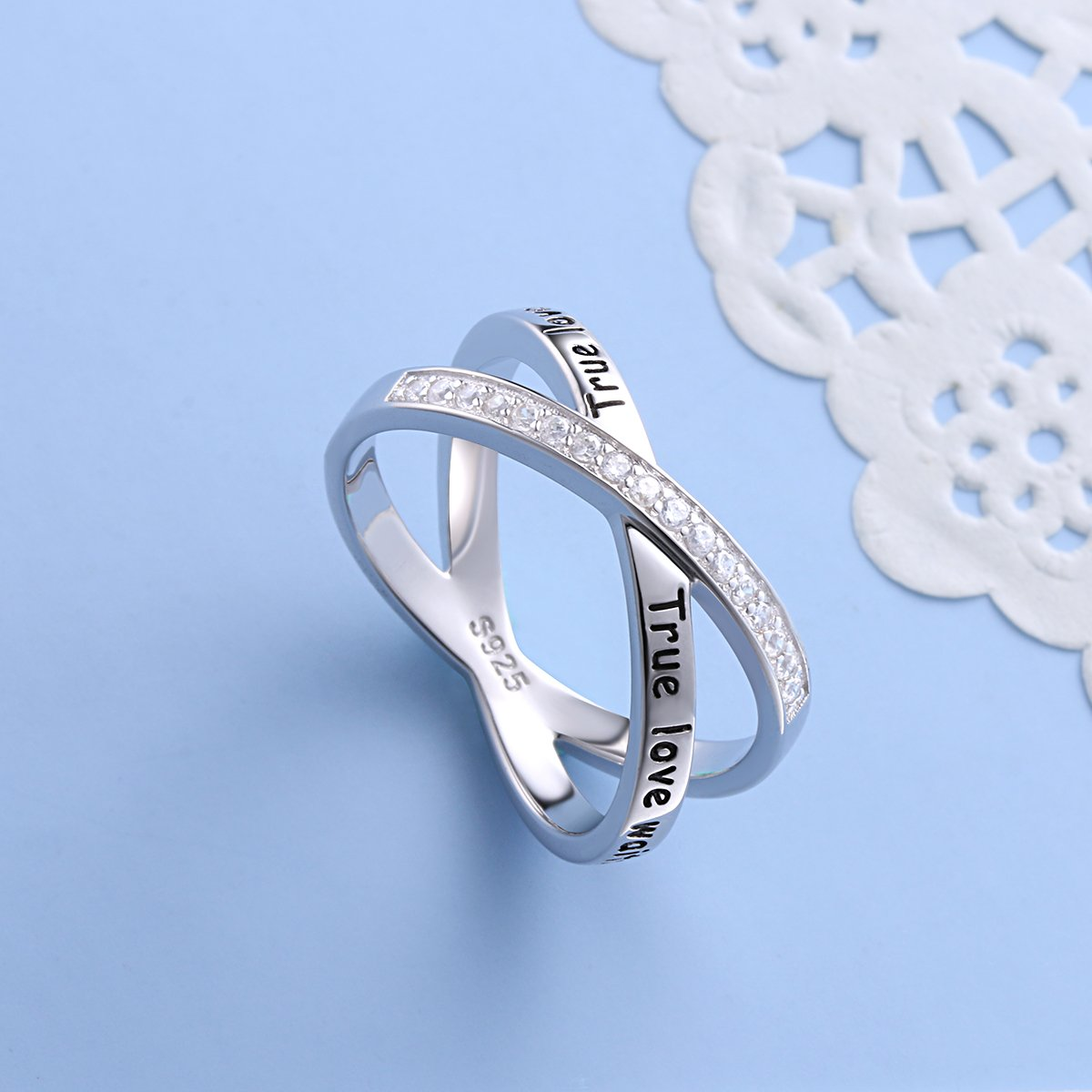 S925 Sterling Silver True Love Waits Infinity Criss Cross Rings for Women Lady, Size 7 by Silver Light Jewelry (Image #4)