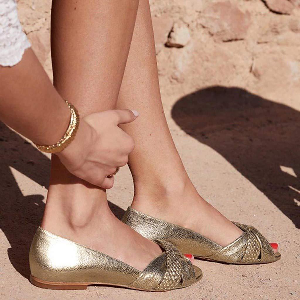 OverDose Sandales Chaussure Plate Femme en Simili Cuir Casual Loafers Peep Toe Sandales Plat de Plage Slip on Doux Confortable Ballerine Plates Noir Or
