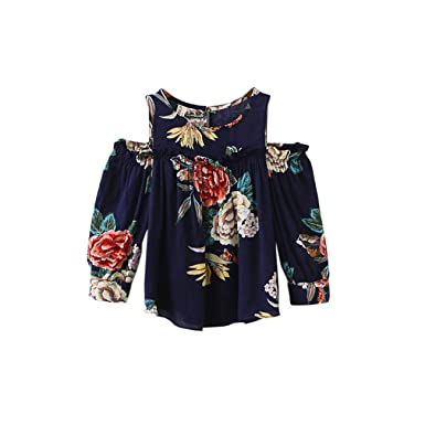 dfcc139fa955e3 FCQNY Kid Little Girls Outfits Long Sleeve Off Shoulder Floral Cotton Blouse  Tops Size 100(