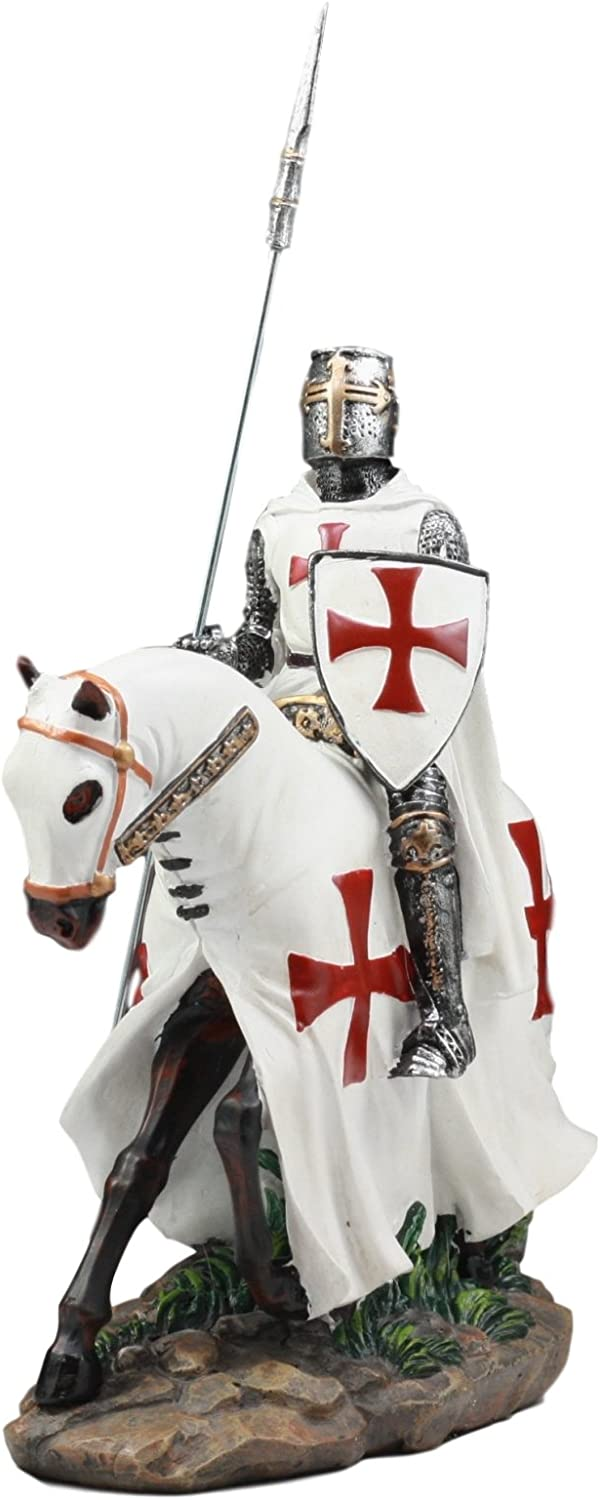 """Gifts & Decor Ebros Crusader English Knight On Cavalry Horse Statue 8"""" Tall Phalanx Spear Horse Combat Warrior Sculpture"""