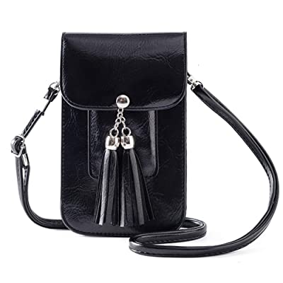 SHOE GONE Small Fringe Crossbody Bag Cell Phone Purse Wallet with Touch Screen Window Carabiner Credit Card Slots for Women Gift Black, Medium: Handbags: .com