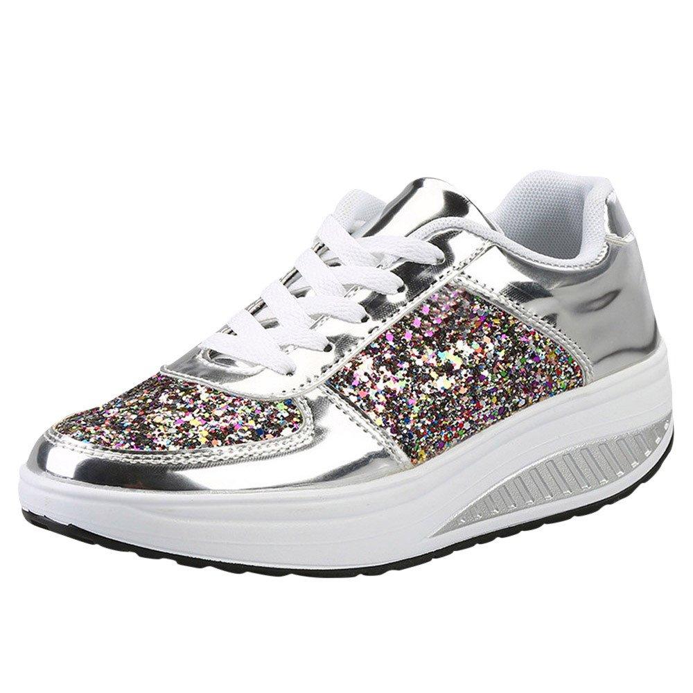 Chaussures Chaussures de Sport, Sport Yesmile Femmes Sneakers Dames Compensées Argent Sneakers Paillettes Secouer Chaussures Mode Filles Chaussures de Sport Argent 520d601 - piero.space