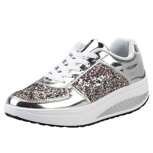 eccb154e0e93c ELECTRI Femme Chaussures Platform Trainers Tennis à Enfiler Pas Cher Baskets  à Talons Plates Soldes Été