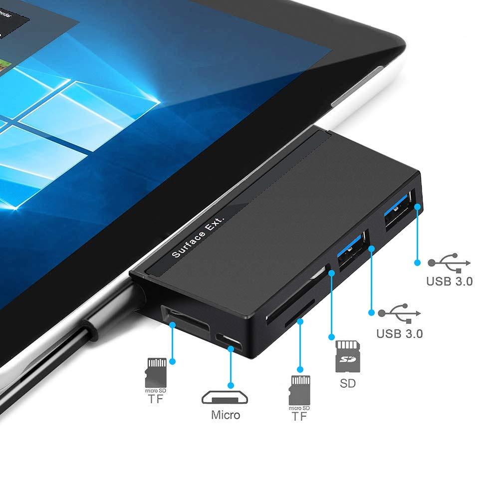 Surface Pro Hub Adapter Dual USB 3.0-Docking Station und Micro USB Kompatibles Microsoft Surface Pro 2017//Pro 4//Pro 3 DAOKER USB 3.0 Daten Hub mit 3 Steckpl/ätzen f/ür SD//TF Kartenleser