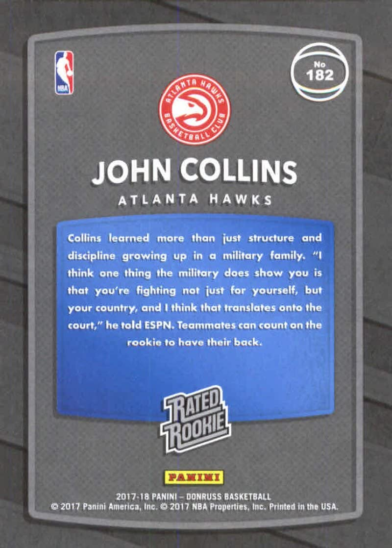 2017-18 Donruss #182 John Collins RC Rookie Hawks Rated Rookie