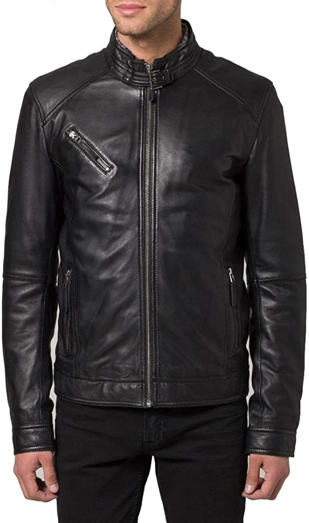 Pristine Leather Mens Biker Genuine Sheep Leather Slim Fit Bomber Party Jacket