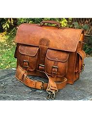 Mens Genuine Leather Vintage Laptop Messenger Handmade Briefcase Bag Satchel By Vintage Couture