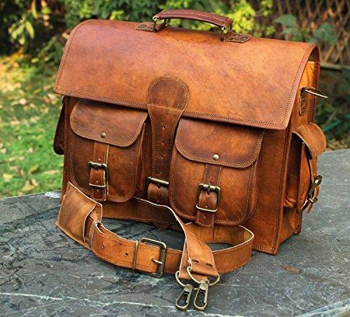 Men's Genuine Leather Vintage Laptop Messenger Handmade Briefcase Bag Satchel By Vintage -