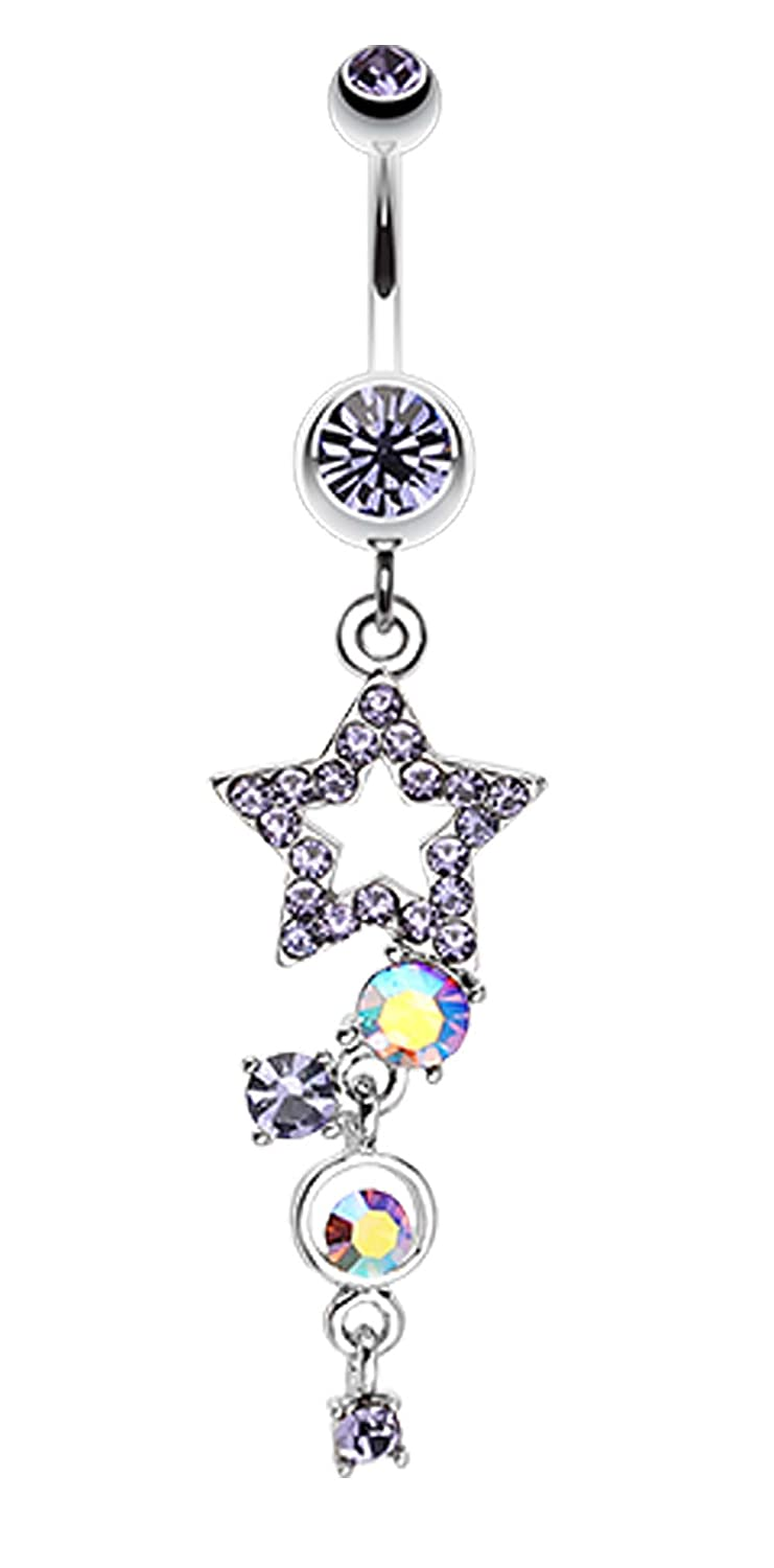 1.6mm Sold Individually Star Sparkle Glass-Gem Curve Dangle Belly Button Ring 14 GA - Blue