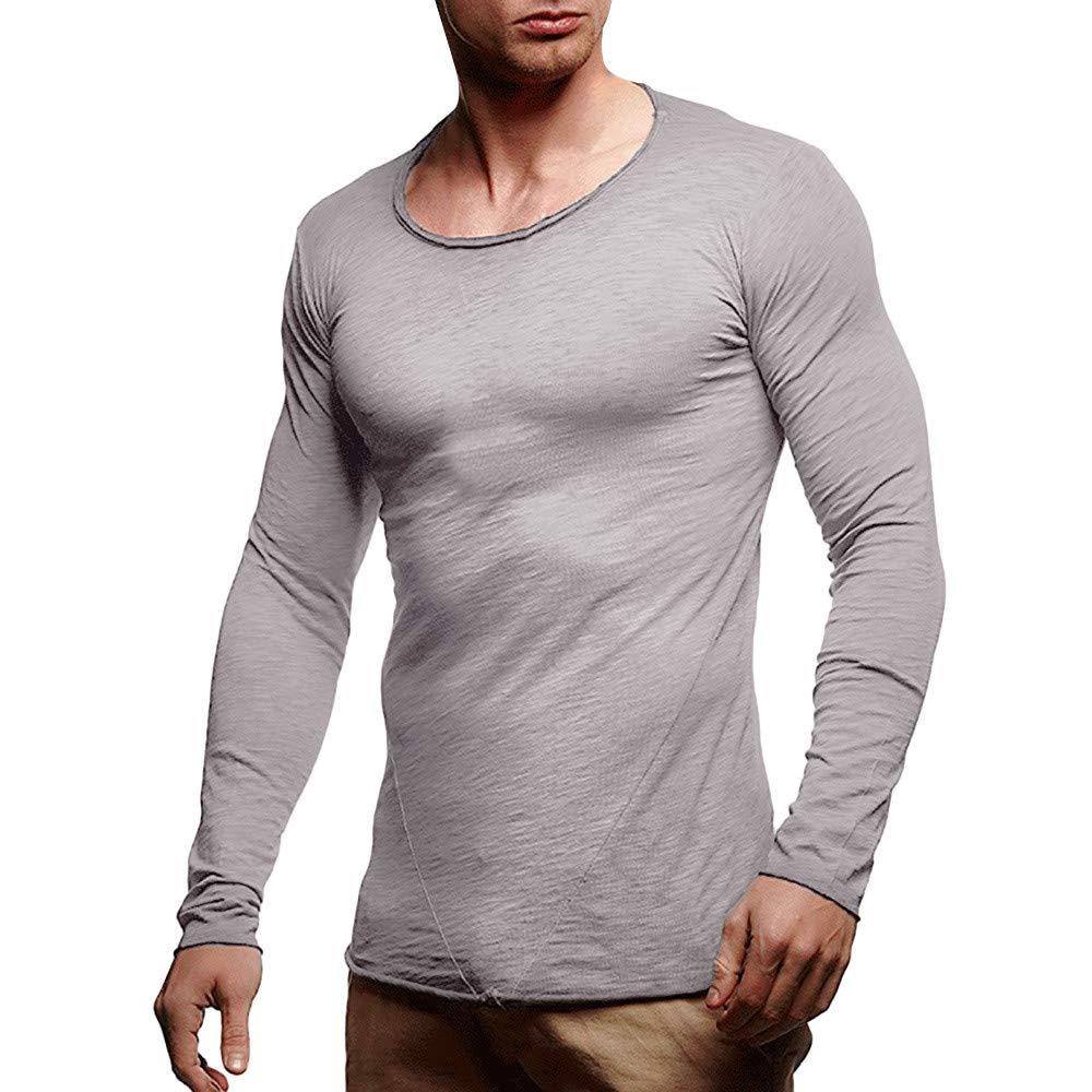 internet_camisetas de hombre Hombres Otoño Invierno O Cuello Manga Larga Slim Patchwork Casual Tops Blusa Camisas por Internet: Amazon.es: Ropa y accesorios